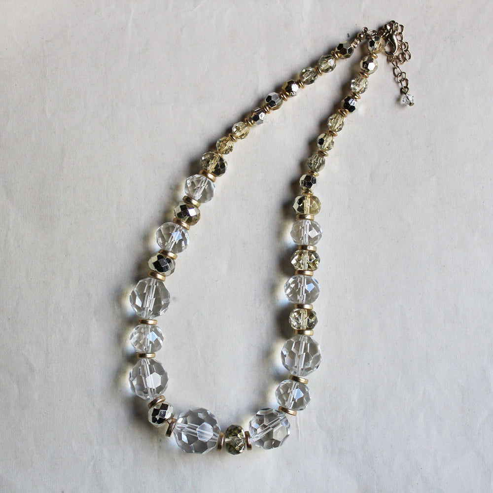 Vintage Clear Chunky Crystal Beads Necklace