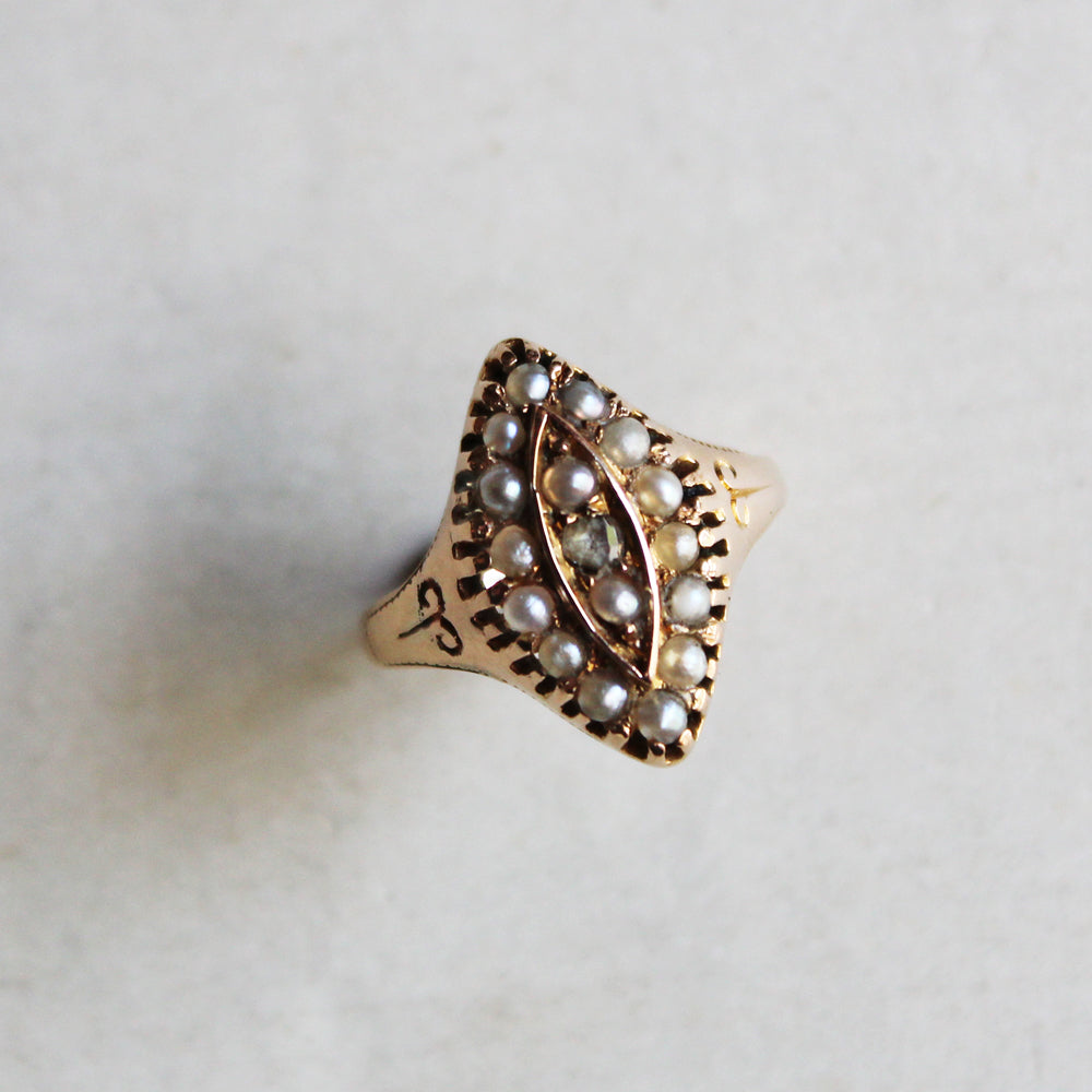 C.1880s Victorian Diamond & Seed Pearl Navette Ring