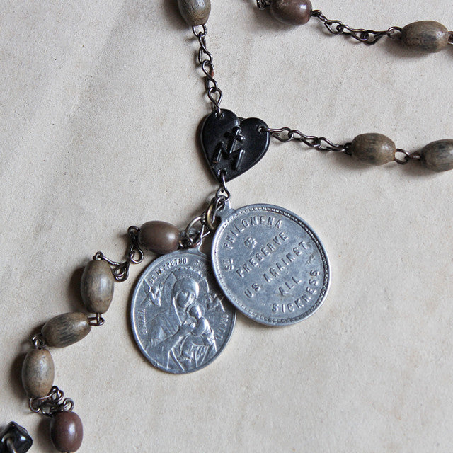 Antique Rosary (Wood Beads - Olive)