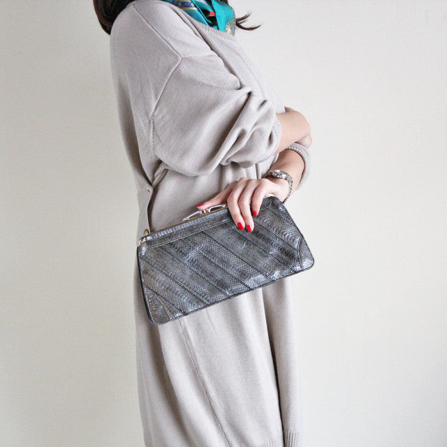 Vintage Patchwork Python 2way Clutch (grey)