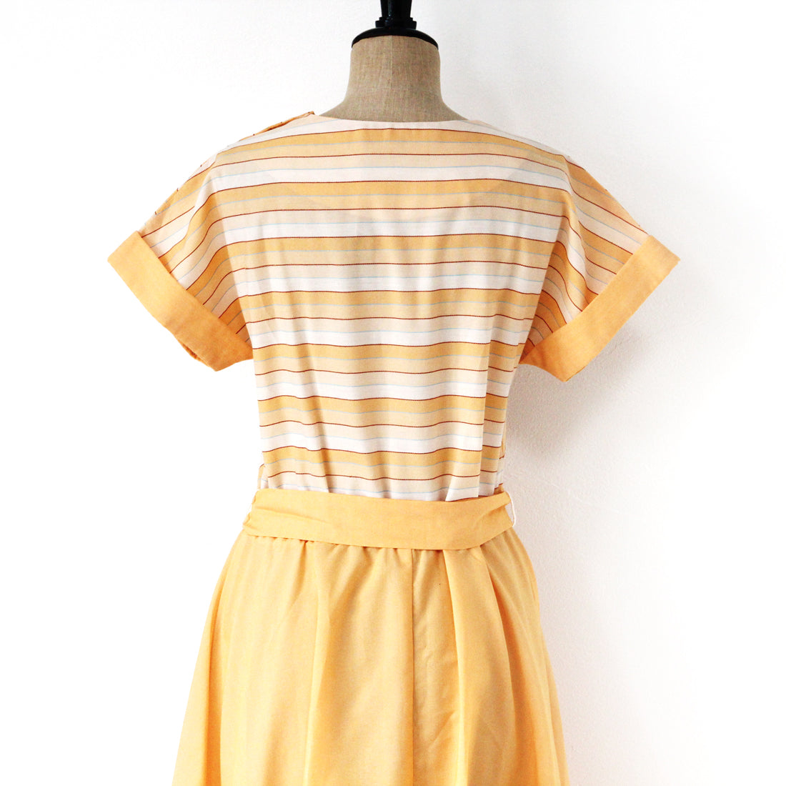 1970S CAP SLEEVE DRESS / ORANGE (D350)