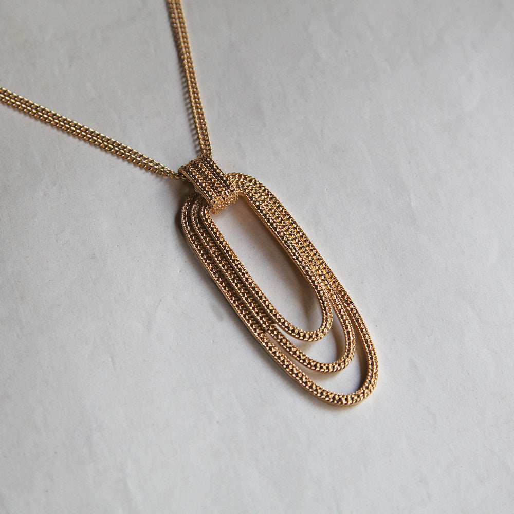 "Vintage ""MONET"" Triple Hoop Necklace (Gold)"
