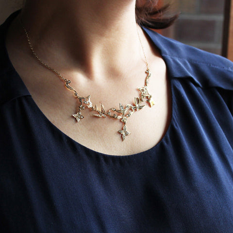C.1880 Victorian Swallow with Seed Pearl Necklace (K14 Gold)
