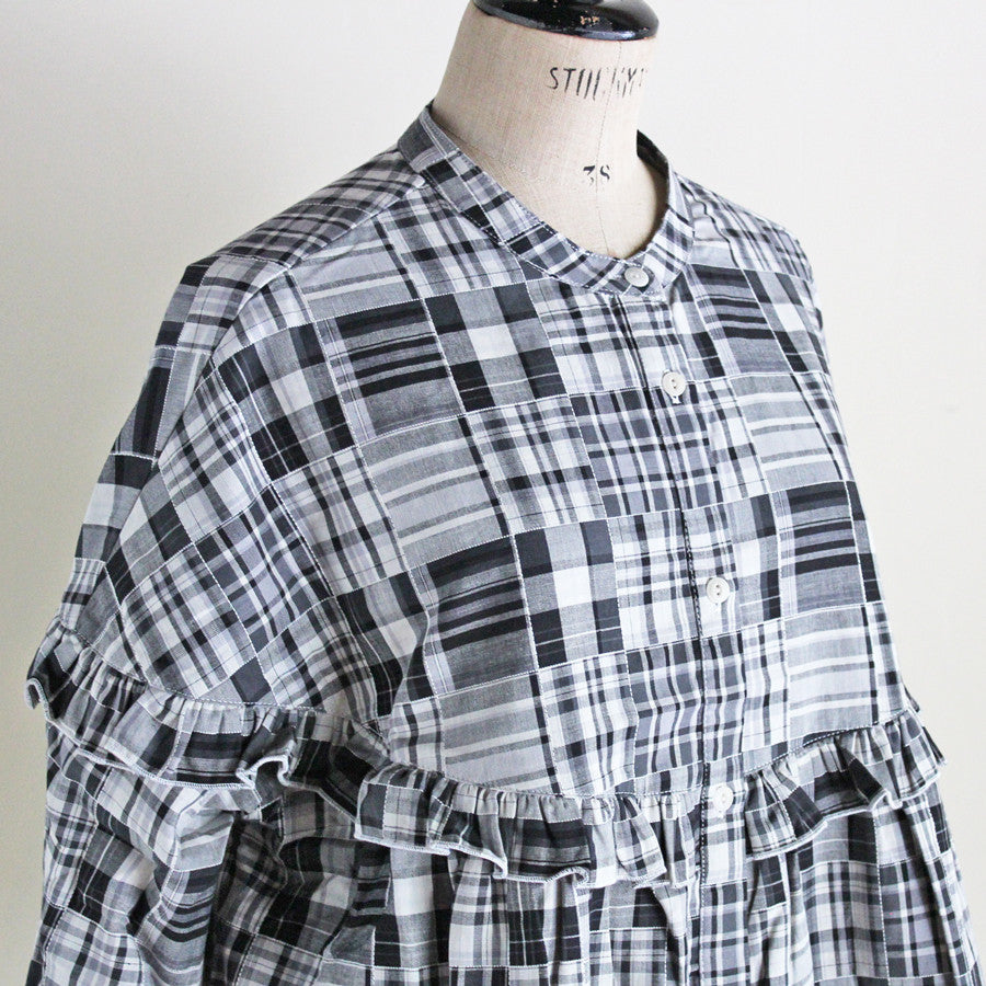 YMC (women) - Patchwork Ruffle Shirt (black/white)