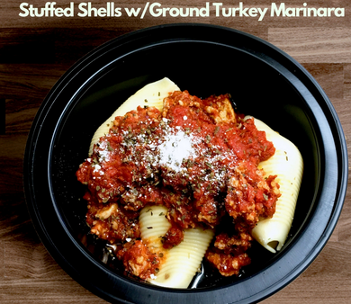 Stuffed shells w ground turkey basil marinara 376 cal 34 prot 12 fat 33 carb*