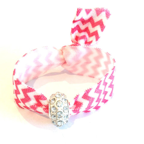 Elastic Bracelet - Pink Chevron with White
