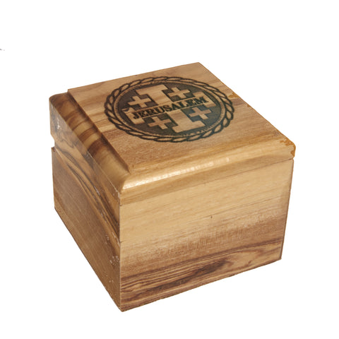 Olive Wood Rosary Box - Jerusalem Cross