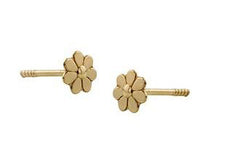 18K Gold Screw Back Earrings - 4mm Daisy