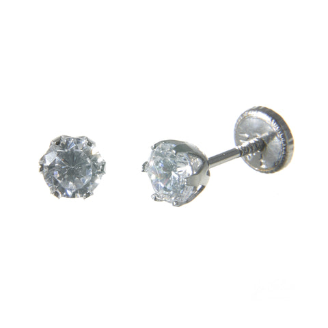 18K White Gold Screw Back Earrings - Small Cubic Stud