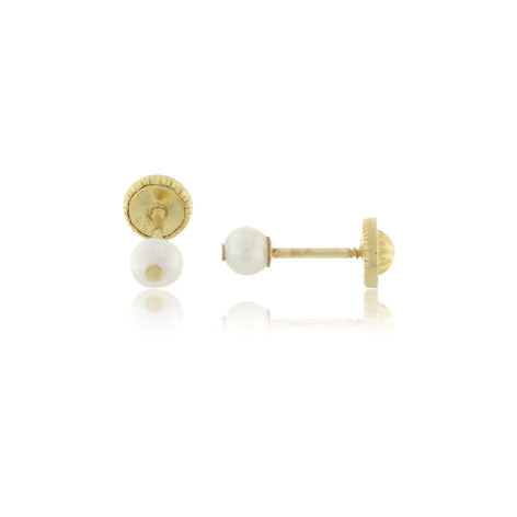 4mm 18K Gold Pearl Screw Back Earrings