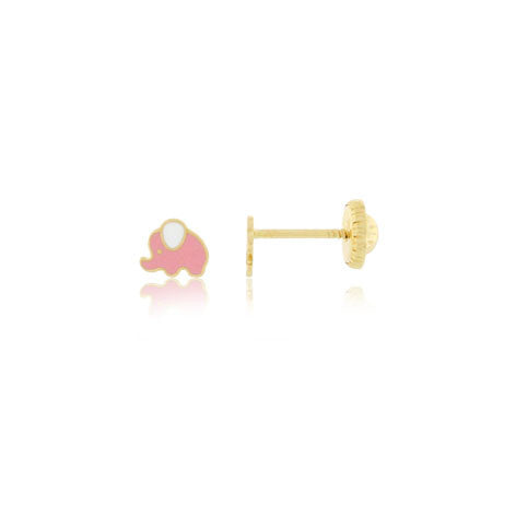 18K Gold Enamel Elephant Screw Back Earrings