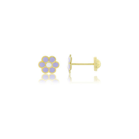 18K Gold Lavender Daisy Screw Back Earrings