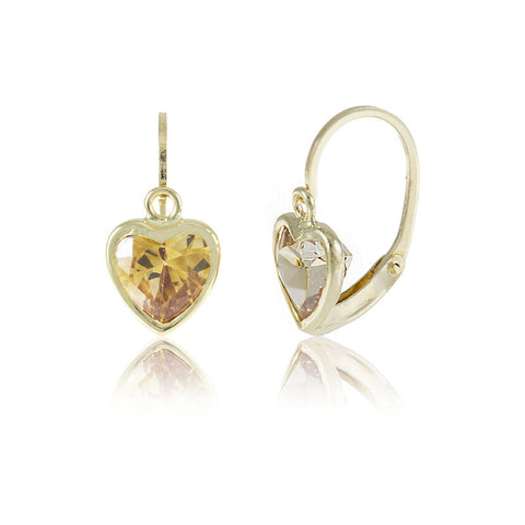 Hoops - 18K GOLD Amber Color Cubic Heart