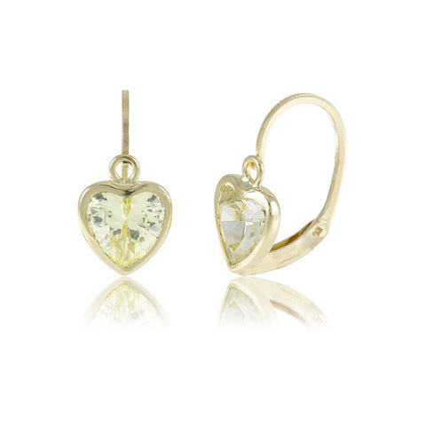 Hoops - 18K GOLD Peridot Cubic Heart