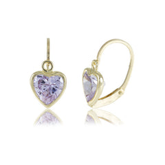 Hoops - 18K GOLD Lavender Cubic Heart