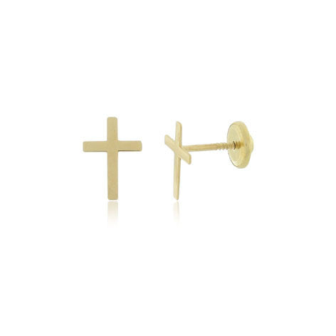 18K Gold Cross Stud Screw Back Earrings