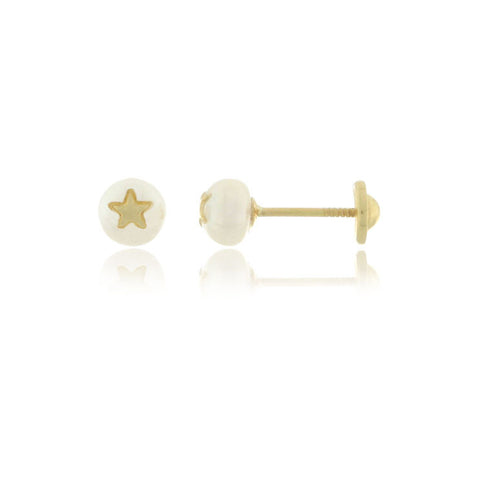 18K Gold Pearl with Star Screw Back Earrings