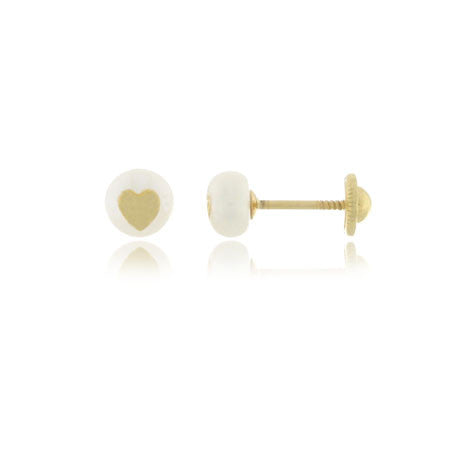 18K Gold Pearl with Heart Screw Back Earrings