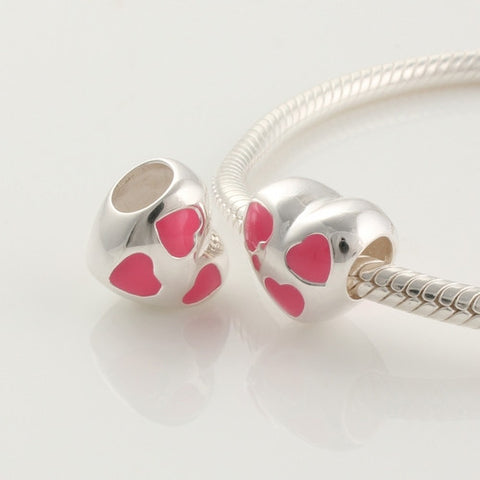 Pendant - Heart with Pink Enamel Hearts