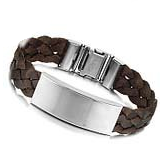 Boys Bracelet -Brown Blank Plate