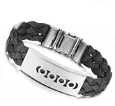 Boys Leather Bracelet -Circles on Braided Band