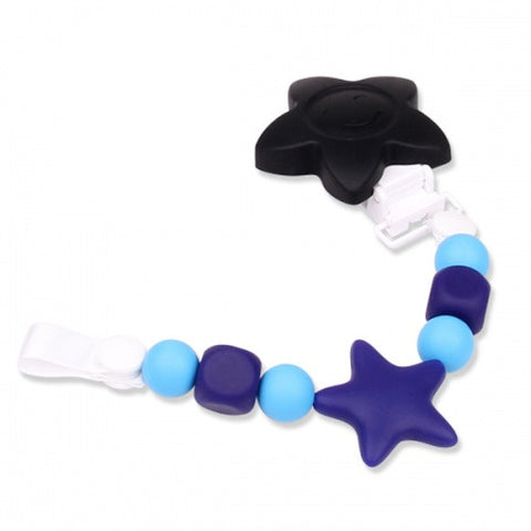 Pacifier Clip and Chew Toy - Blue