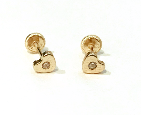 Smooth Heart with CZ 18K gold Screw Back Earrings