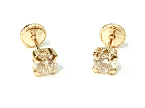 Square Cubic 18K gold Screw Back Earrings