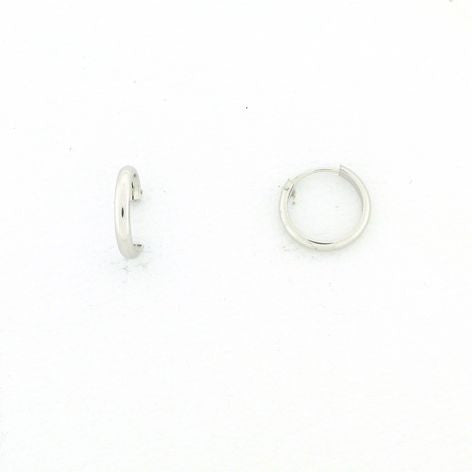 18K White Gold Hoops