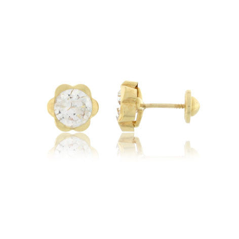 Screw Back 18K Gold Earrings - Flower Cubic Zirconia