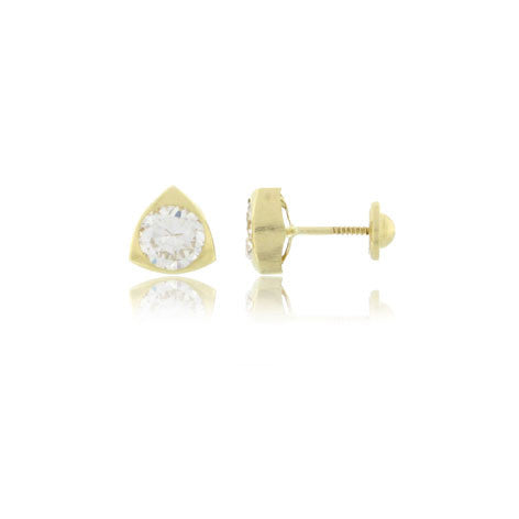 Screw Back 18K Gold Earrings - Triangle Cubic Zirconia
