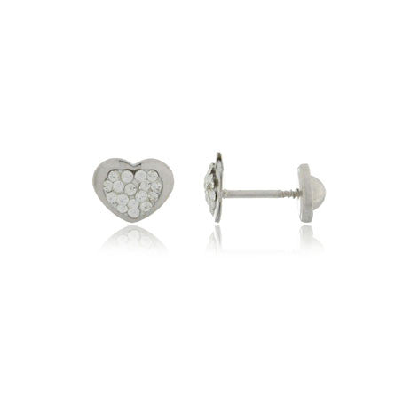 18K White Gold Screw Back Earrings - Glitter Heart