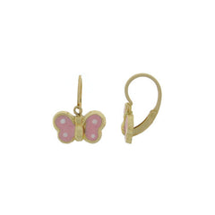 Hoops - 18K GOLD Pink Butterfly