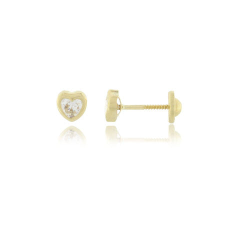 18K Cubic Heart Screw Back Earrings