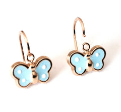 Hoops - 18K GOLD Baby Blue Butterfly
