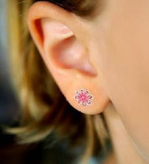 Double Sparkle Pink Flower Earring Tattoos