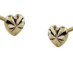 18K gold Screw Back Earrings - Engraved Heart