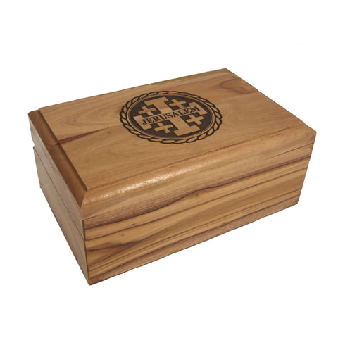 Olive Wood Memory Box - Jerusalem Cross