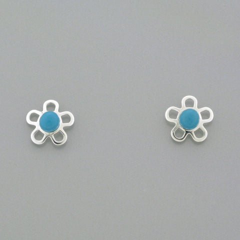 Sterling Silver Screw Back Earrings - Flower with Blue Coloured Stone
