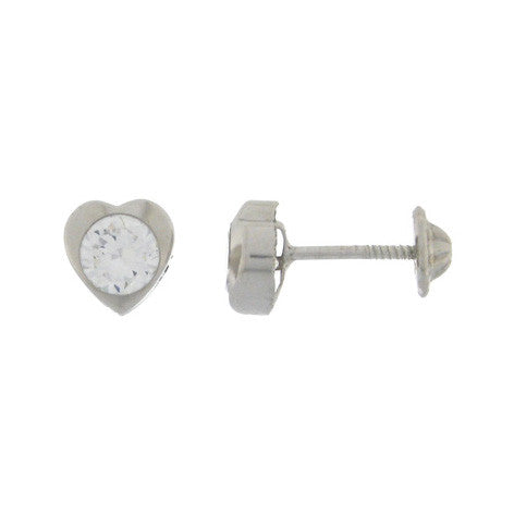 Sterling Silver Screw Back Earrings - Heart Cubic