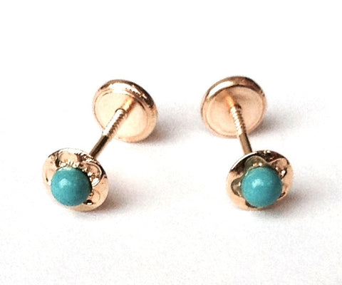4mm 18K Gold - Turquoise Color Stud - Screw Back Earrings
