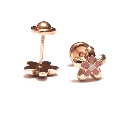18K Gold Pink/White Flower Screw Back Earrings