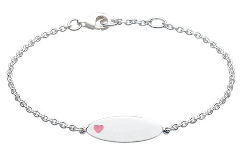 Dew - Sterling Silver ID Bracelet with Pink Heart