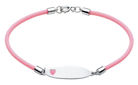 Dew - Silver Id Bracelet with Pink Heart