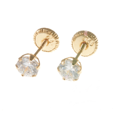 18K Yellow Gold Screw Back Earrings - Small Cubic Stud