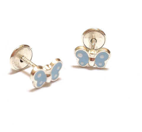 Sterling Silver Screw Back Earrings - Baby Blue Butterfly