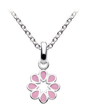 "Dew - Pink Enamelled Flower 20"" Necklace Set"