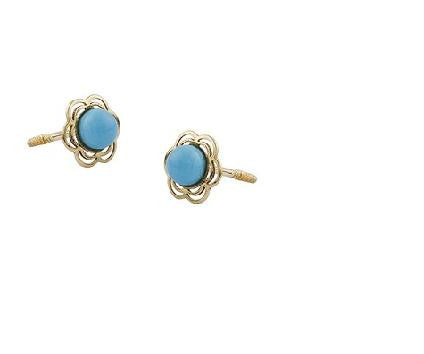 Turquoise color 18K gold Screw Back Earrings