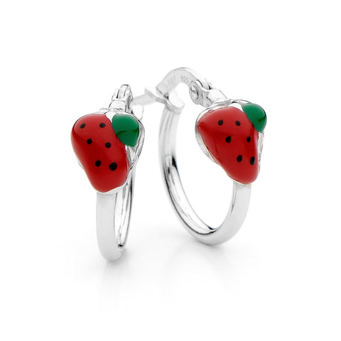 PICCOLO Strawberry Sterling Silver Hoop Earrings
