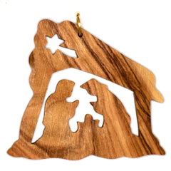 Olive Wood Christmas Decoration - JOSEPH & MARY IN THE MANGER (D)